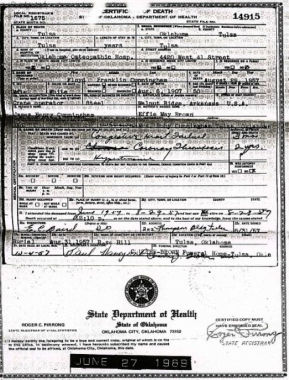 Mississippi County, Arkansas Death Certificate
