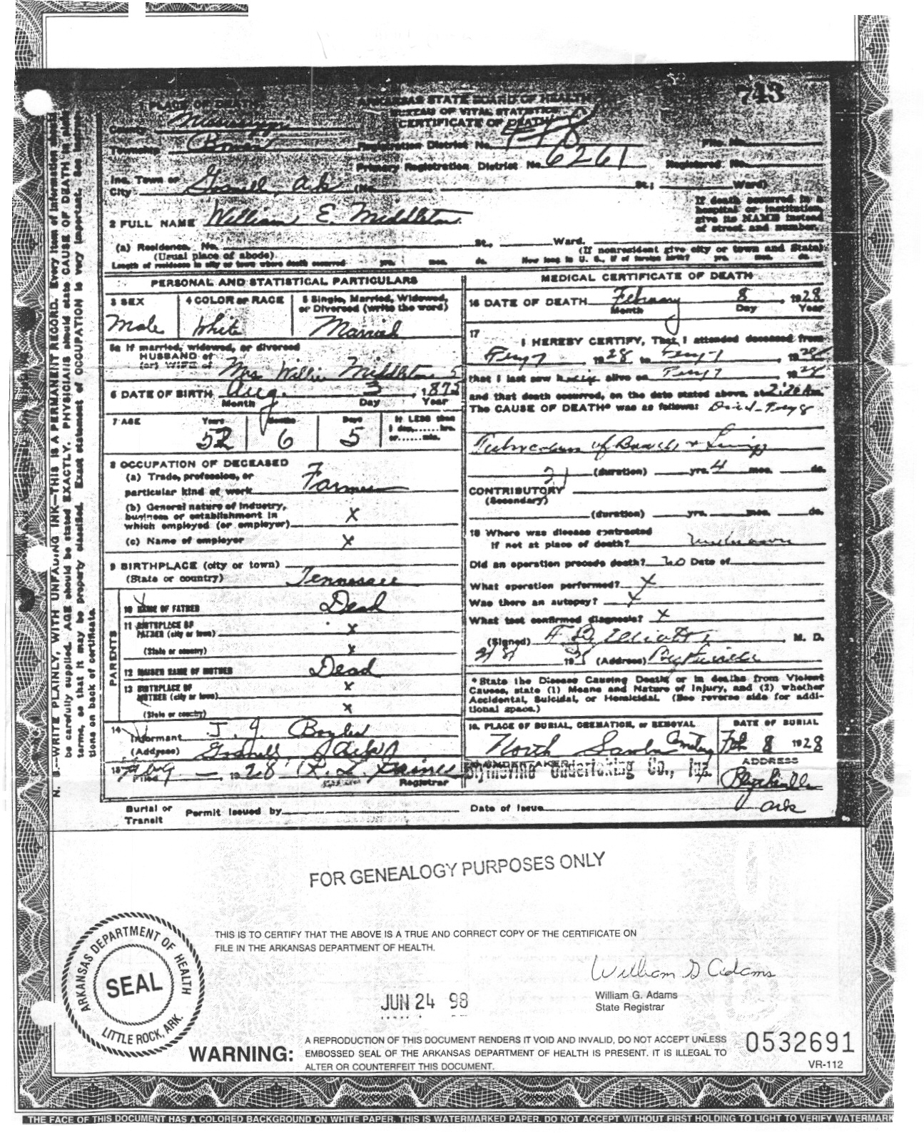 Mississippi county arkansas death certificate large images certificate xflitez Images