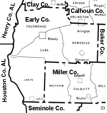 1960 Early County Militia District Map