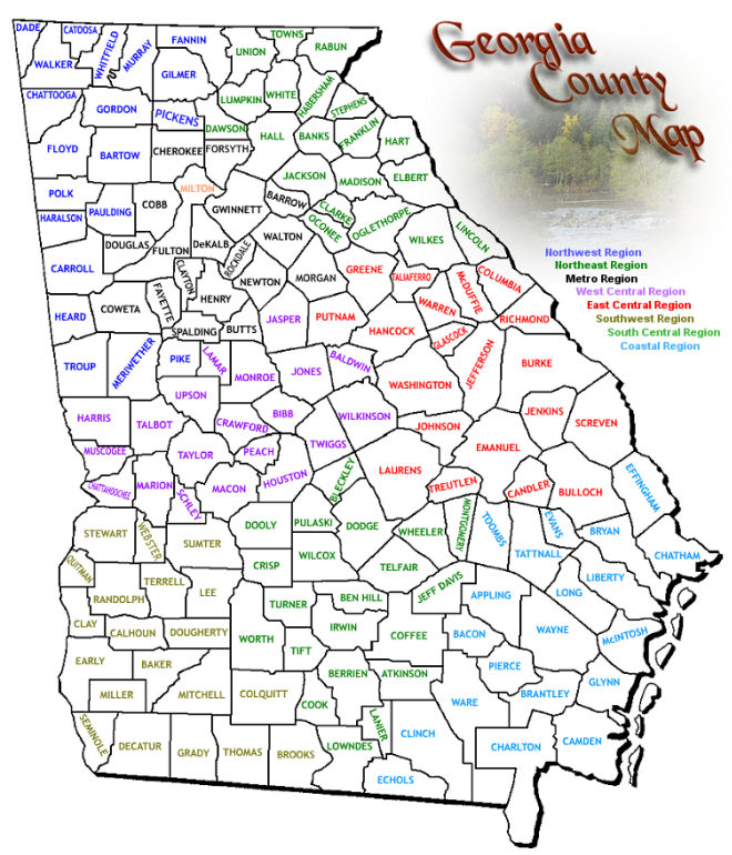 Regional Manager - Counties of georgia map