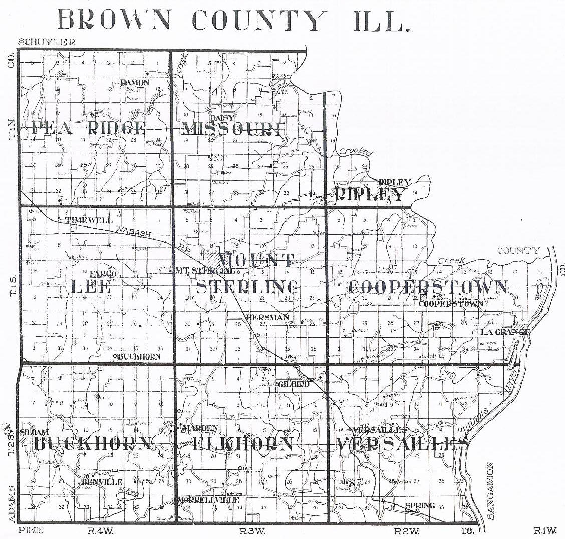 Illinois brown county versailles - Brown Co Il Township Map For Brown Co Il Graveyards Il Saving Graves