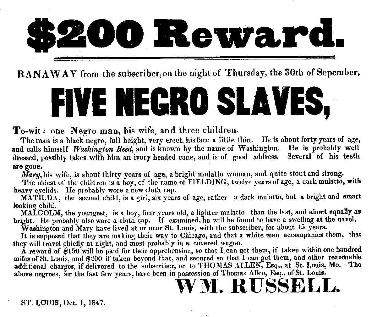 Reward for capturing runaway slaves from St. Louis, USA, in 1847