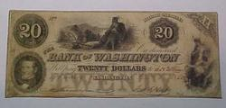 1852--$20 Bank of Washington, NC note