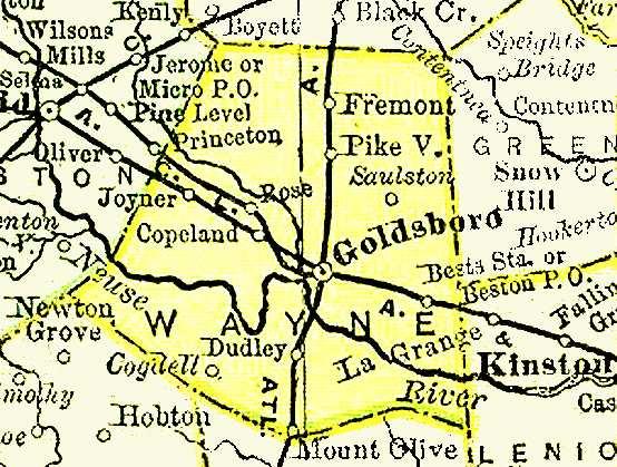 Map Wayne County Ncgenweb