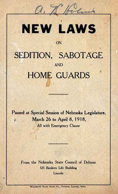 New Laws - Sedition, Sabotage & Home Guards
