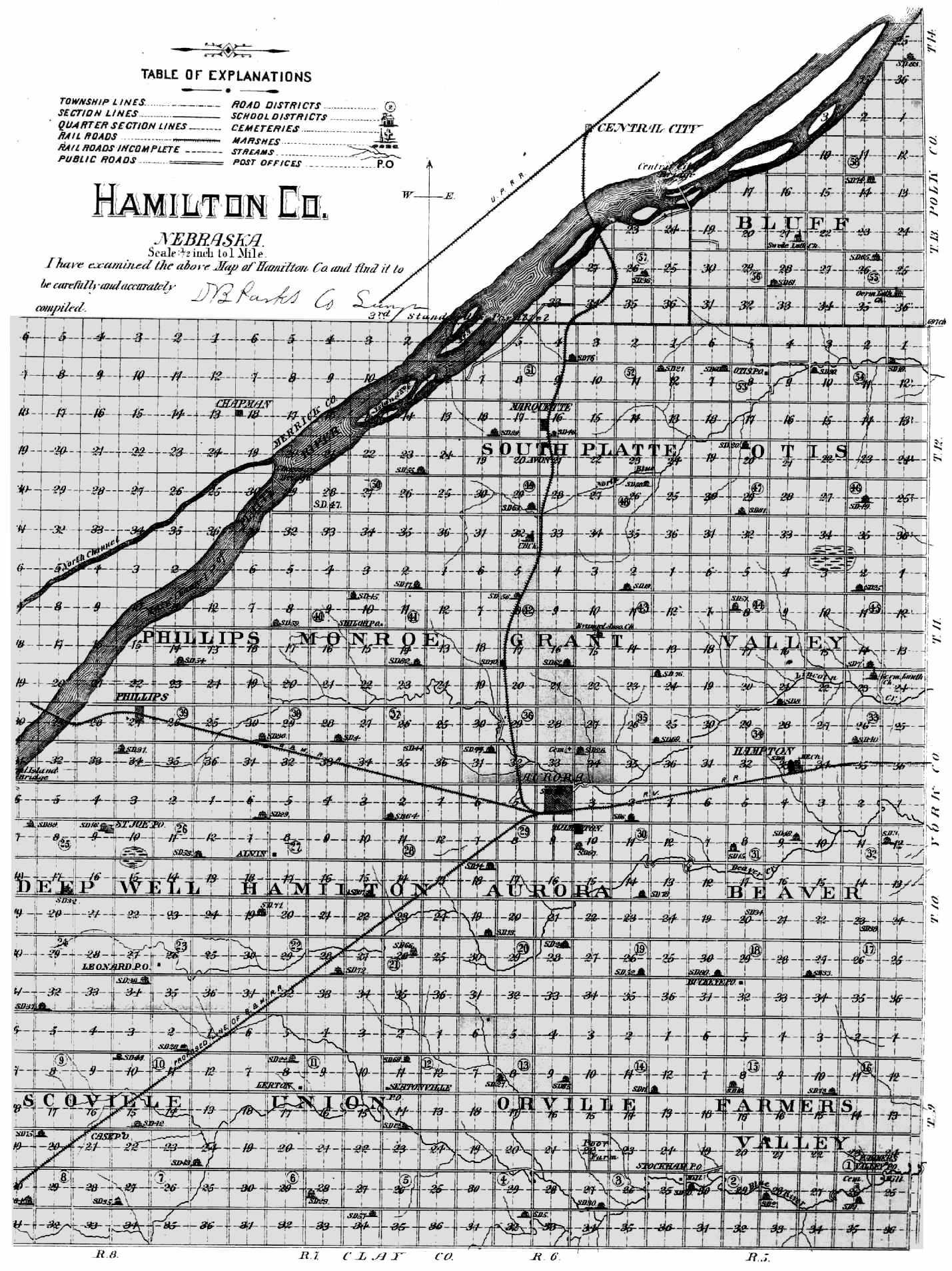 Nebraska hamilton county - 1885 Nebraska State Atlas Map