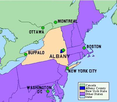 Map of Albany County within New York State.  New York State is shown in relation to northeastern Canada and U.S.