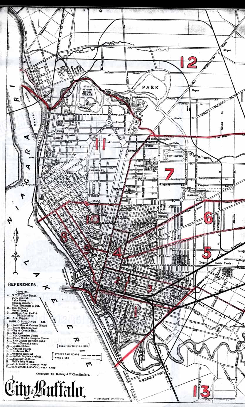 map of buffalo with ward boundaries for the 1855 1890 censuses