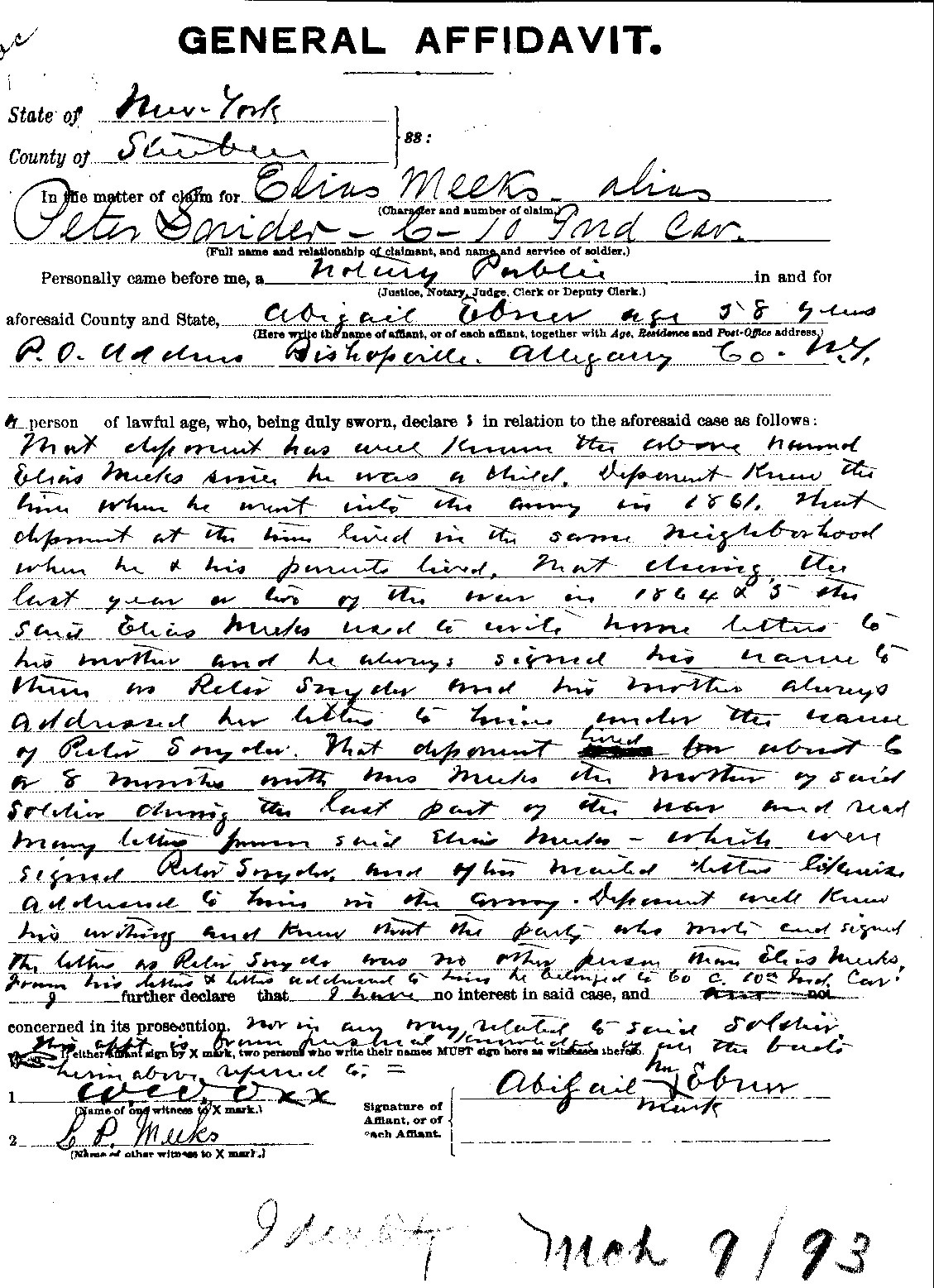Elias Meeks alias/Peter Snider; Pension Files - Almond Historical ...
