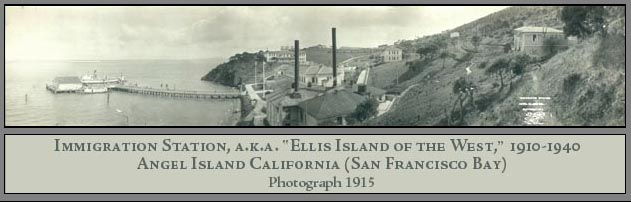 Immigration Station, a.k.a. Ellis Island of the West, 1910-1940, Angel Island California (San Francisco Bay), Photograph 1915